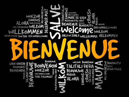Bienvenue (Welcome in French) word cloud in different languages, conceptual background Illusztráció