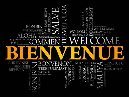 Bienvenue (Welcome in French) word cloud in different languages, conceptual background Ilustração