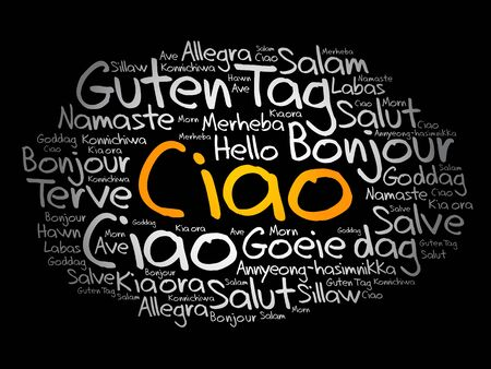 Ciao! (Hello Greeting in Italian) word cloud in different languages of the world Illusztráció