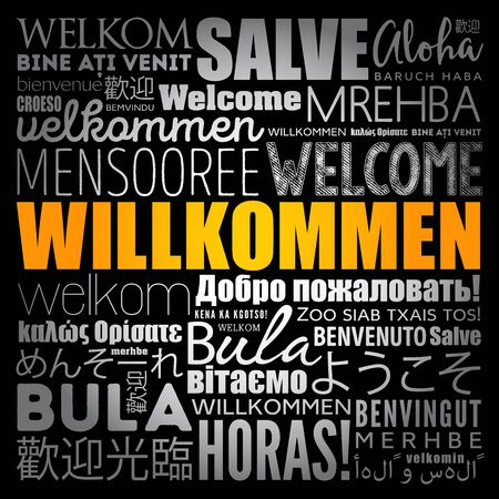 Willkommen (Welcome in German) word cloud in different languages, conceptual background