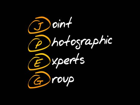 JPEG - Joint Photographic Experts Group acronym, concept background Иллюстрация