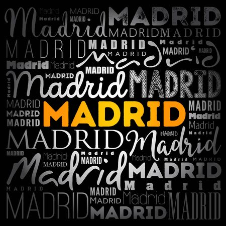 Madrid wallpaper word cloud, travel concept background