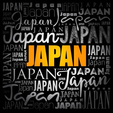 Japan wallpaper word cloud, travel concept background