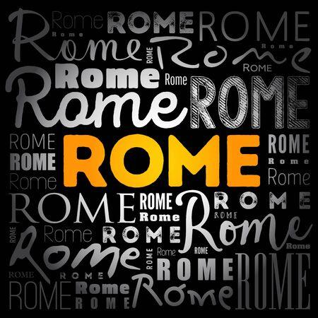 Rome wallpaper word cloud, travel concept background Ilustração