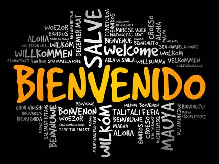 Bienvenido (Welcome in Spanish) word cloud in different languages, conceptual background Illusztráció