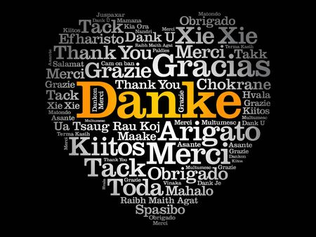 Danke (Thank You in German) Love Heart Word Cloud in different languages Ilustração