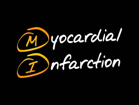 MI - Myocardial Infarction acronym, health concept background 写真素材 - 150400804