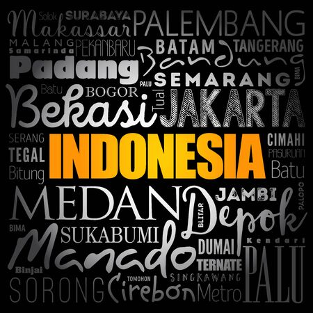 List of cities and towns in Indonesia, word cloud collage, business and travel concept background