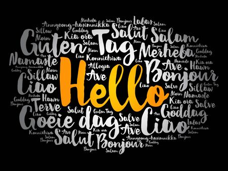 Hello word cloud in different languages of the world, background concept Illusztráció