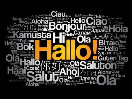 Hallo (Hello Greeting in German) word cloud in different languages of the world, background concept Illusztráció