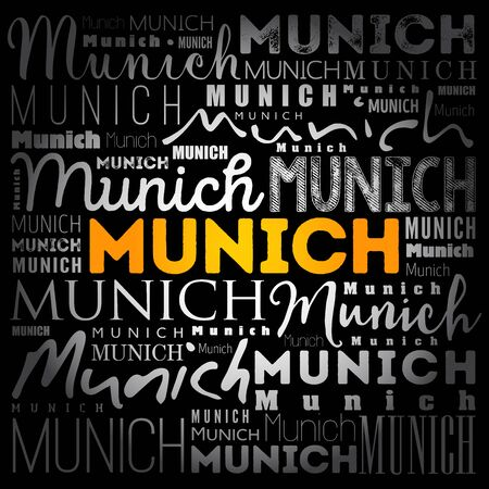 Munich wallpaper word cloud, travel concept background
