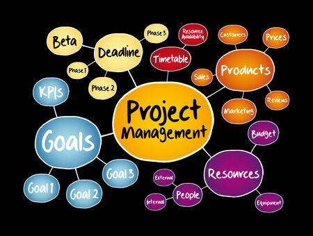 Project management mind map flowchart, business concept for presentations and reports