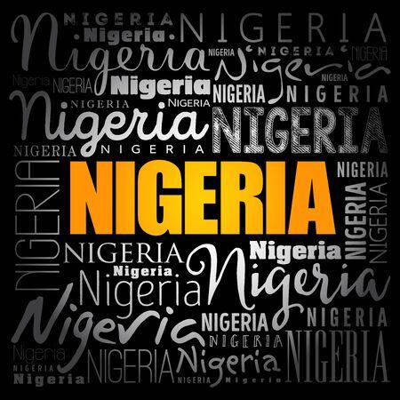 Nigeria wallpaper word cloud, travel concept background