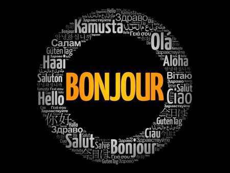 Bonjour (Hello Greeting in French) word cloud in different languages of the world, background concept Illusztráció