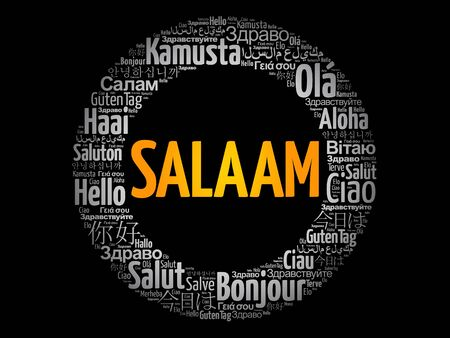SALAAM! (Hello Greeting in Persian,Farsi) word cloud in different languages of the world Illusztráció