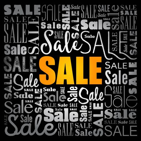 Sale word cloud collage, business concept background