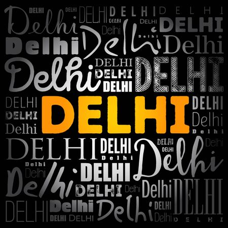 Delhi wallpaper word cloud, travel concept background