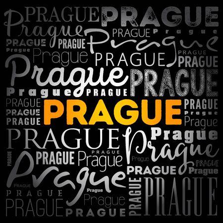 Prague wallpaper word cloud, travel concept background Ilustração