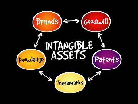 Intangible assets types, strategy mind map, business concept Vektorové ilustrace