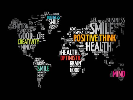 Positive thinking word cloud in shape of world map, creative concept background Ilustracja
