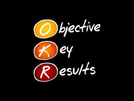 OKR - Objective Key Results acronym, business concept background Vecteurs