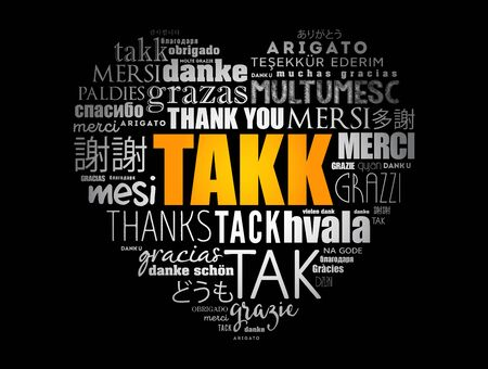 Takk (Thank You in Icelandic) love heart Word Cloud in different languages