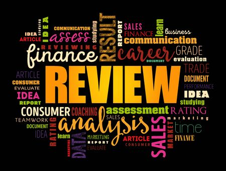 Review word cloud collage, business concept background