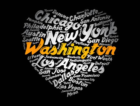 List of cities and towns in USA composed in love sign heart shape, word cloud collage, business and travel concept background