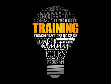 TRAINING light bulb word cloud collage, education concept background