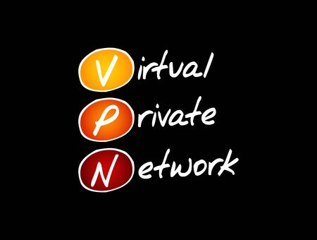 VPN - Virtual Private Network acronym, technology concept background Vectores