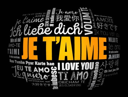 Je t'aime (I Love You in French) in different languages of the world, word cloud background 일러스트