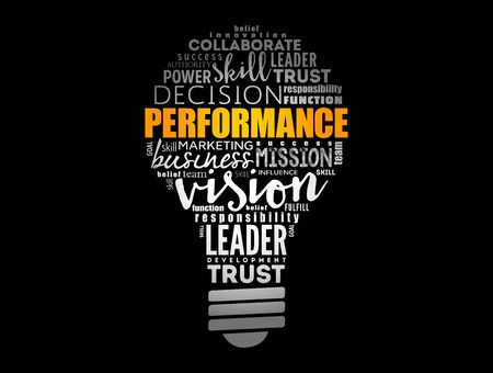 Performance light bulb word cloud, business concept background