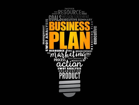 Business plan light bulb word cloud collage, business concept background Illustration