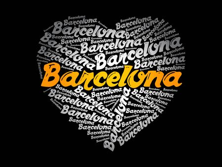 Barcelona love heart word cloud, travel concept background