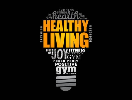 Healthy Living light bulb word cloud, health concept background 向量圖像