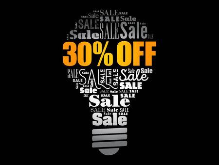 30% OFF Sale light bulb word cloud collage, business concept background