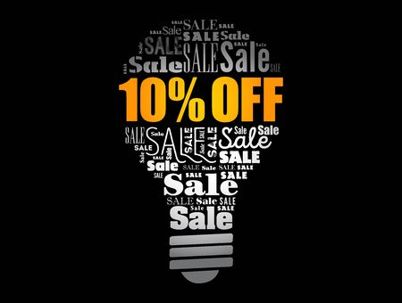 10% OFF Sale light bulb word cloud collage, business concept background