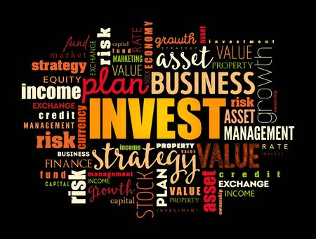 Invest word cloud collage, business concept background 벡터 (일러스트)