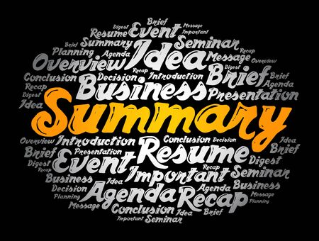 Summary word cloud collage, business concept background Ilustração