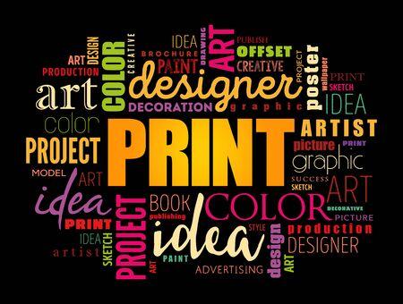 PRINT word cloud, creative business concept background Çizim