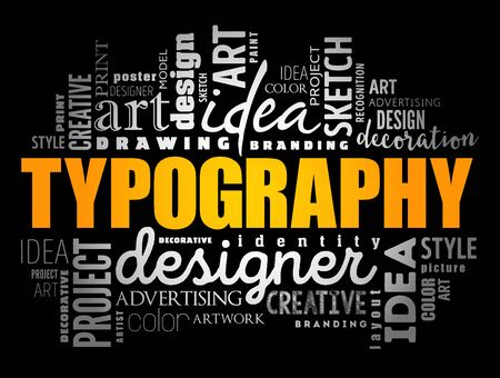 TYPOGRAPHY word cloud collage, creative concept background Stock Illustratie