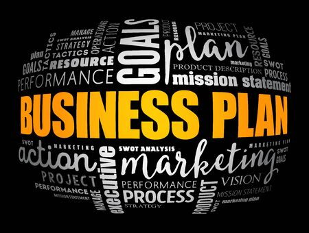 Business plan word cloud collage, business concept background Illustration