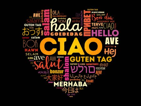 Ciao (Hello Greeting in Italian) heart word cloud in different languages of the world