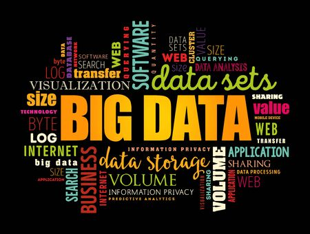 Big Data word cloud collage, technology business concept background