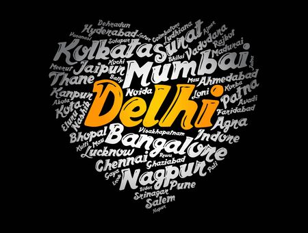 List of cities and towns in India composed in love sign heart shape, word cloud collage, business and travel concept background Ilustração