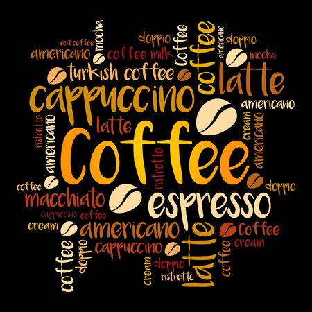 List of coffee drinks words cloud collage, poster background Vector Illustration