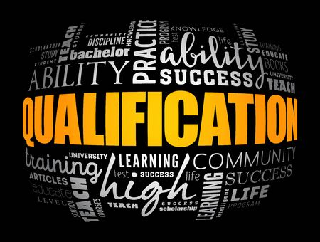 Qualification word cloud, education business concept background Illustration
