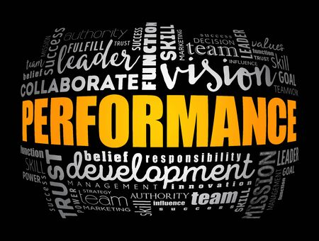 Performance word cloud collage, business concept background