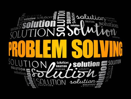 Problem solving aid word cloud collage, business concept background
