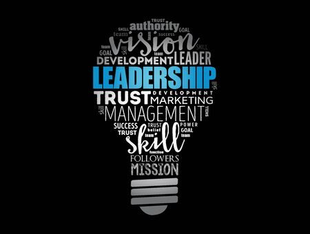 LEADERSHIP light bulb word cloud collage, business concept background Foto de archivo - 150371741